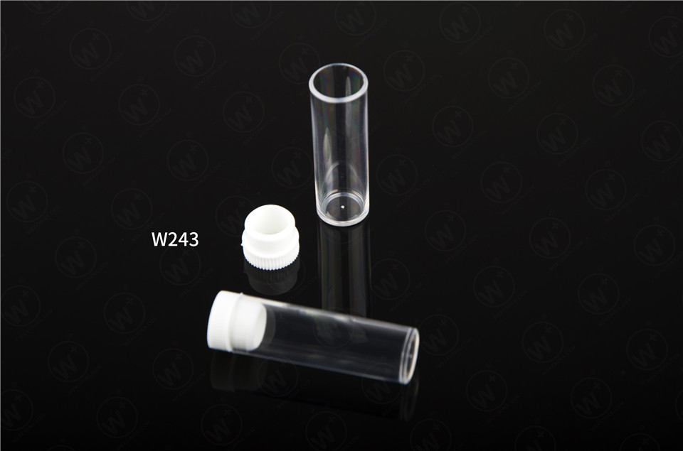 Plastic test tube with flat bottom